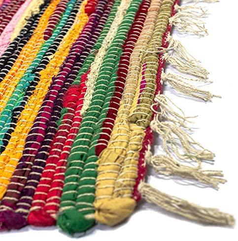Alfombra Multicolor Jarapa, Estilo Hindu, Alfombra 100% Algodon, Alfombra de Colores con Flecos,